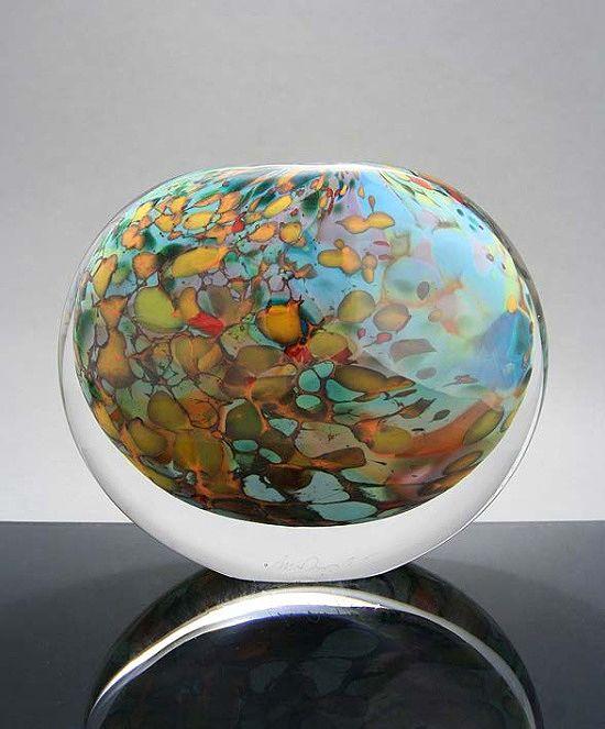 Peter Layton, Artist, Wide Stoneform Reef, handblown glass, 14cm h