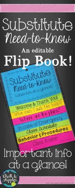 Editable quick reference flip book to help substitutes find the most important info they need about your class at a glance. Print on brightly colored paper and hang in a prominent location near your desk so that a new substitute can easily find it, and have necessary information at his/her fingertips! by mable
