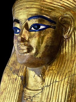 Detail of the funerary Mask of Yuya from Tomb of Yuya and Tuya, parents of Queen Tiya, wife of King Amenhotep III, in the Valley of the Kings at Luxor. Yuya held many titles, he was advisor of King Amenhotep III and came to Luxor from a powerful family from Akhmim.