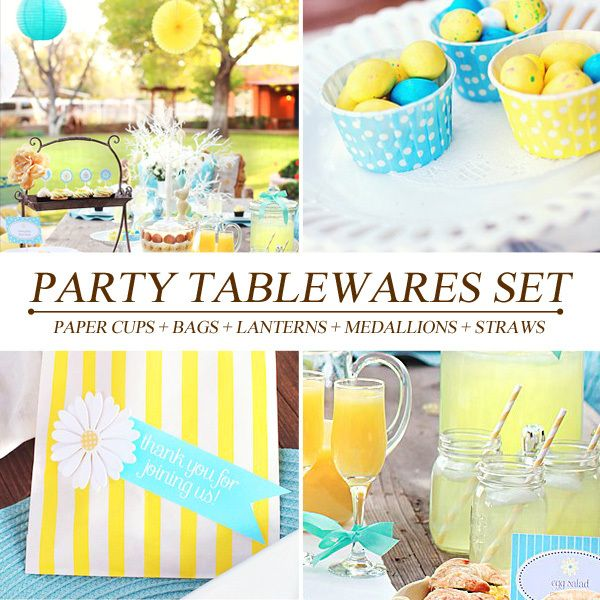==> [Free Shipping] Buy Best [PGP] Blue & Yellow Party SetCake cupsCandy bagsStrawPaper lanternsTissue Medallionsfor Kids Birthday Baby shower Festival Online with LOWEST Price | 1912440515