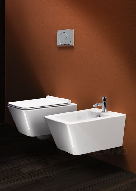 Wall-hung WC. 4,5 lt flush. Wall-hung single-hole bidet.