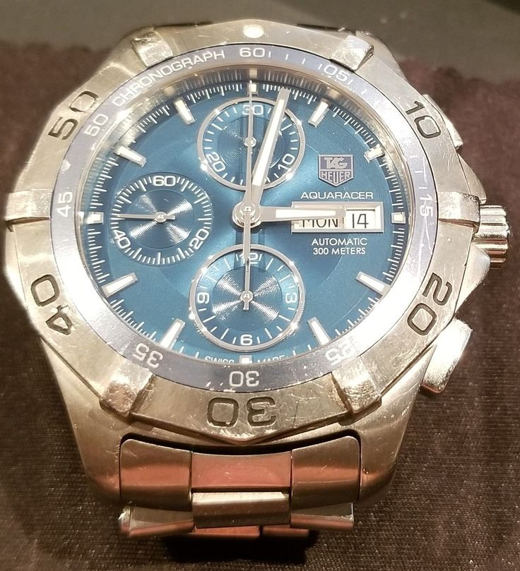 Mens Stainless Steel TAG HEUER AQUARACER Chronograph Watch 300m CAF2012 FB1435