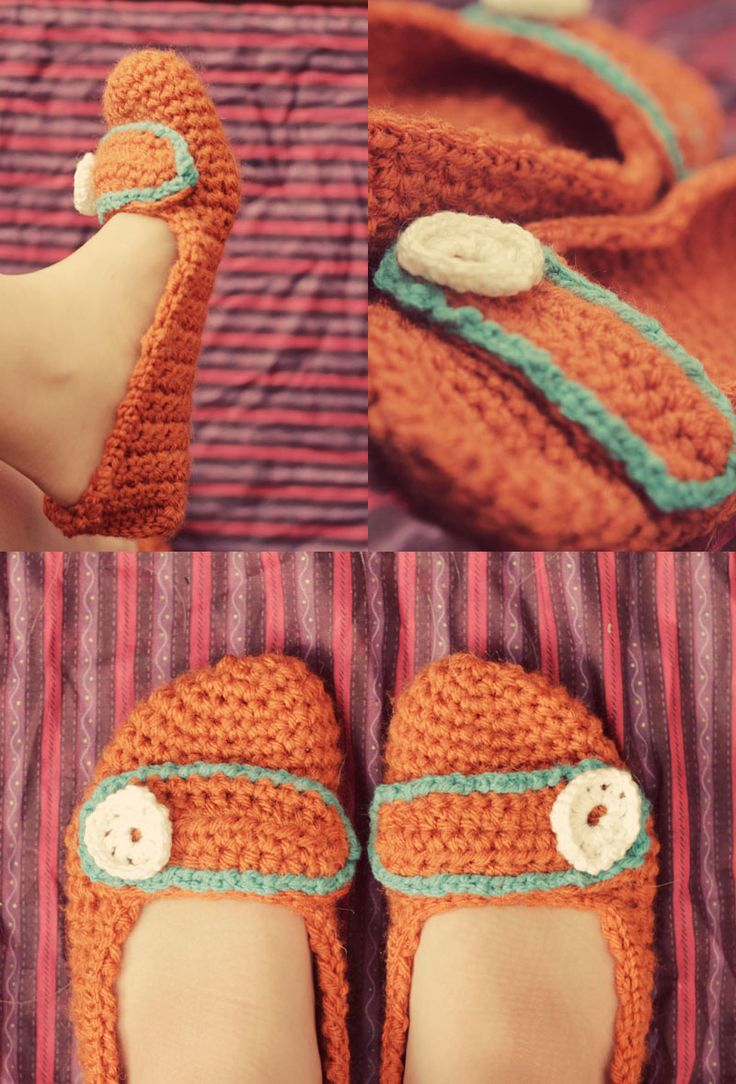 Crochet Slippers Free Pattern.  Love the colors.
