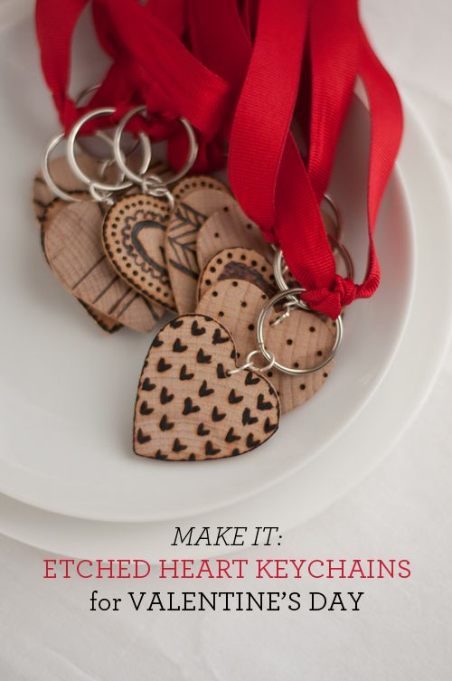 Etched Wooden Heart Key Fobs - Design Mom