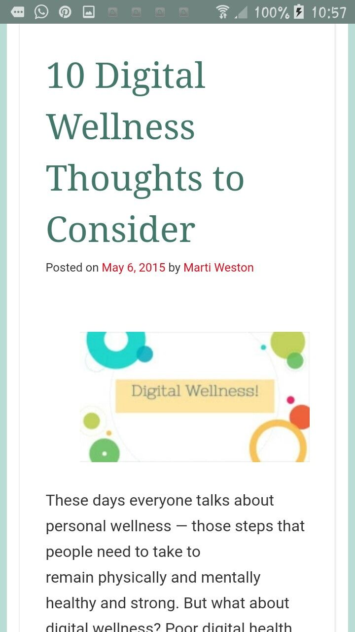 Digital wellness thoughts to consider