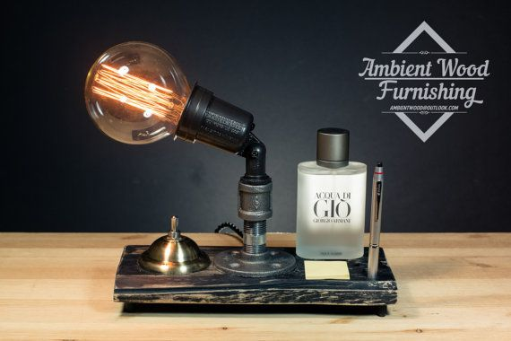 Desk caddy iron pipe table lamp and industrial socket