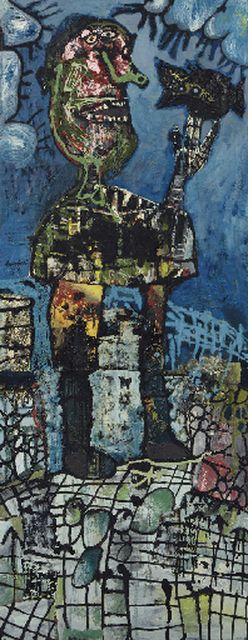 Lucebert (1924-1994) was een Nederlands dichter en schilder. In de jaren zestig legde hij zich vooral toe op de beeldende kunst, die destijds 'figuratief-expressionistisch' genoemd werd. Zijn schilderwerk, dat vooral in het begin sterk beïnvloed was door Cobra, geeft blijk van een vrij pessimistisch wereldbeeld.