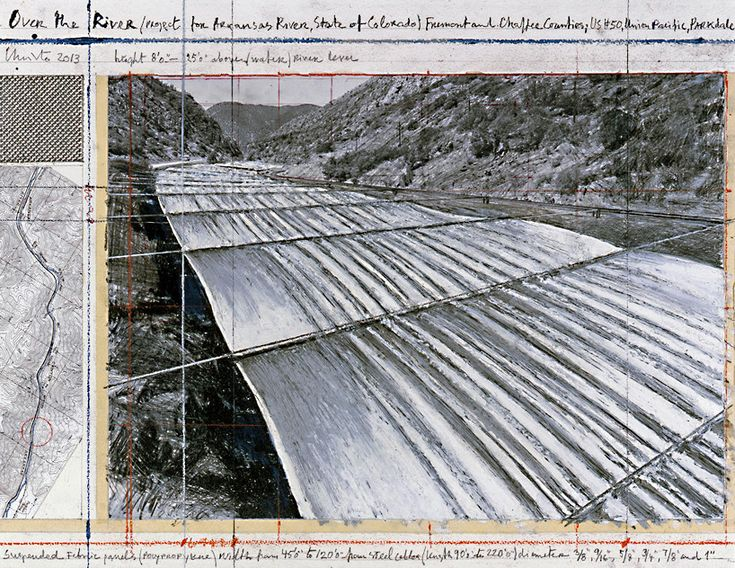 christo gets green light for monumental installation over the arkansas river over the river (project for arkansas river, state of colorado), collage 2013 17 x 22″ (43.2 x 55.9 cm) pencil, enamel paint, wax crayon, photograph by wolfgang volz, topographic map, fabric sample and tape photo: andré grossmann / © 2013 christo