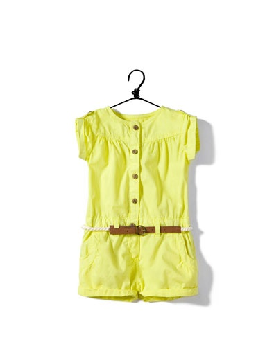 ZARA: Shorts Jumpsuits, Neon Jumpers, Baby Girls, Baby Clothing, Girls Style, Baby Fashion, Yellow Jumpsuits, Belts, Baby Stuff