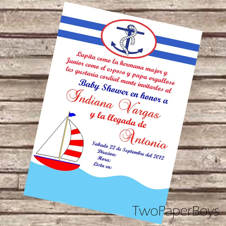 natical or marine baby shower invitation in spanish or english via etsy