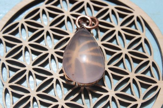 Drop of love : Rose quartz pendant on recycled copper - Ancient style - Discount 25%  code HAPPY