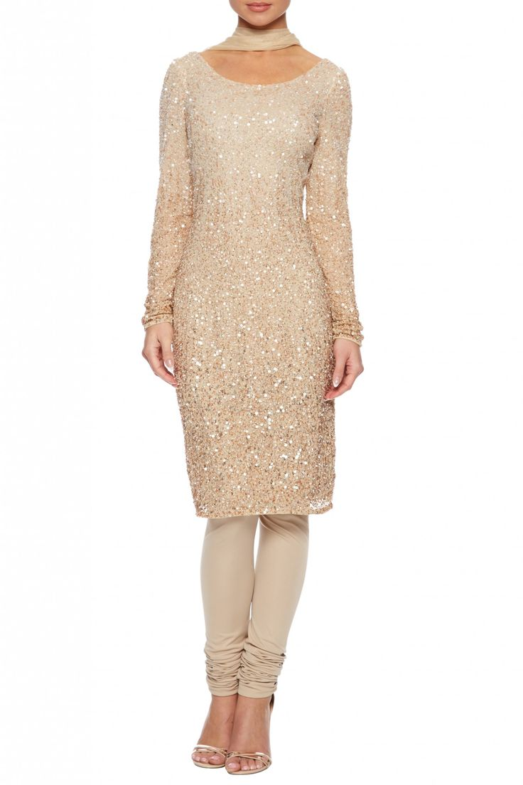 Champagne beaded churidar suit