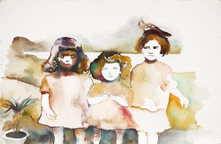 """Smiles (""""Las Sonrisas""""), 2010 Watercolor on paper 37,4 x 57,0 cm"""