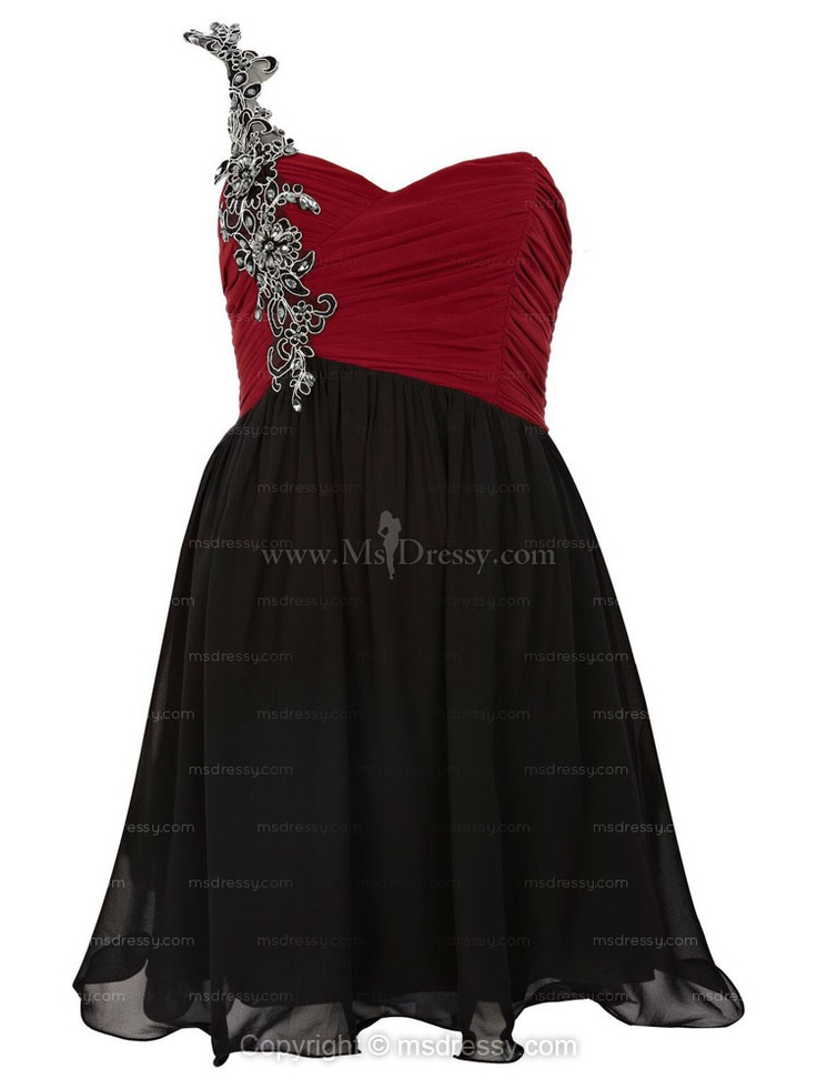 A-line One Shoulder Short/Mini Chiffon Multi Colours Prom Dress With Applique