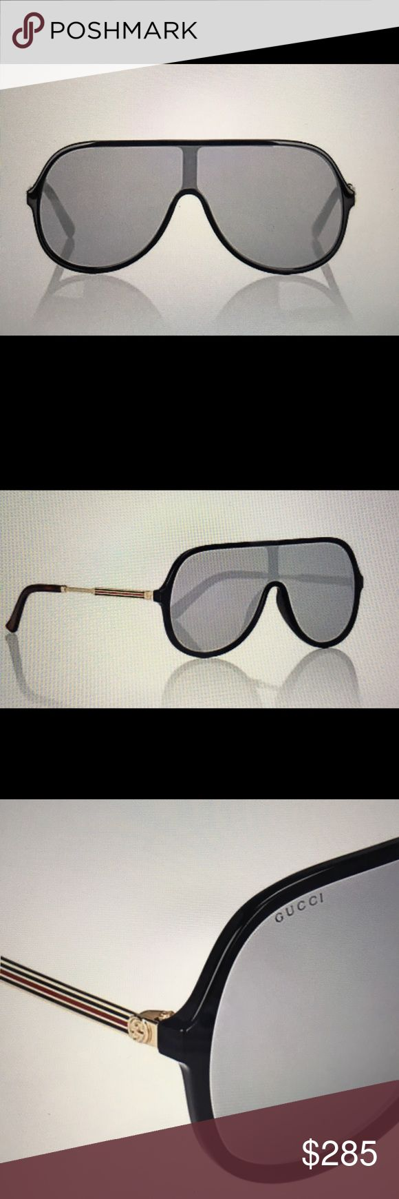 GUCCI Black oversized aviator frames GUCCI Black oversized aviator frames. Japanese made frames. Etched logo at lens. Interlocking G and signature web stripe at temples. Nose guards. Includes case, satin pouch, and cleaning cloth. Gucci Accessories Sunglasses
