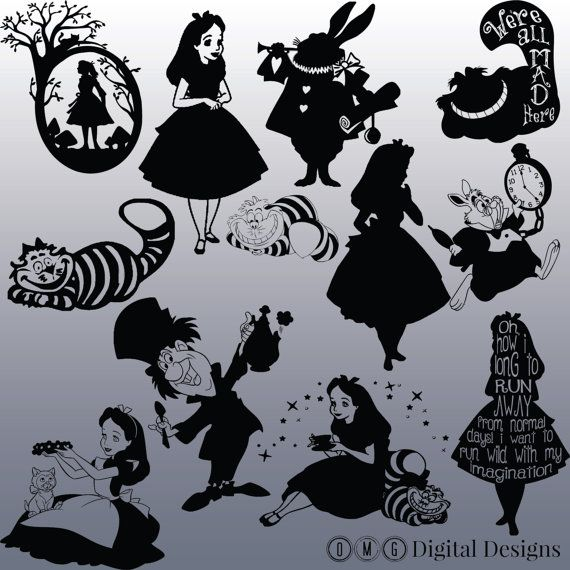 12 Alice In Wonderland Silhouette Images, Digital Clipart Images, Clipart Design…