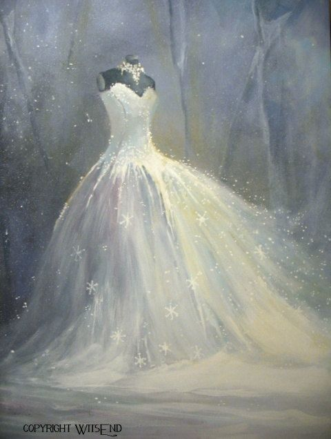 """THE SNOW QUEEN', ballerina tutu painting original ooak Ballet winter by 4WitsEnd, via Etsy.  SOLD"
