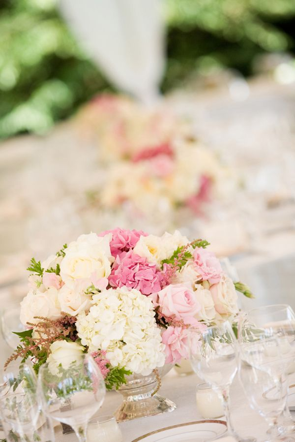Pretty light pink and white floral wedding centerpiece, photo by Stephanie Cristalli Photography