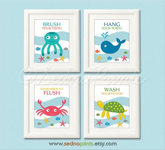 Bathroom Art Print Set 5x7 Kids Bathroom Wall Decor Bathroom Rules Nautical Colorful Whale Fish Crab Octopus Sea Turtle Unframed