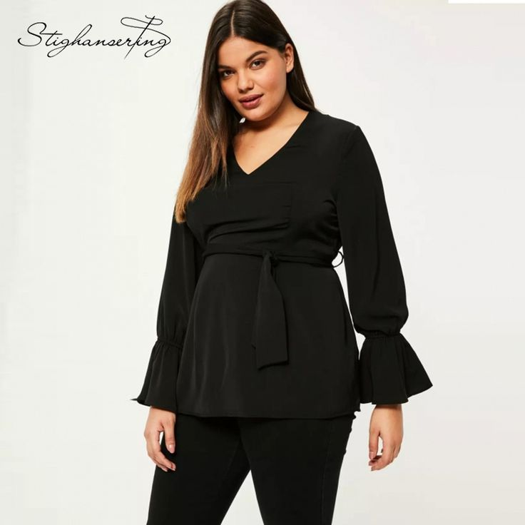 Stighanserting Big Size Women Blouse  Solid Casual Shirt Sexy V-Neck Tied Elegant Blouse Ruffles Loose Plus Size Blouse 7XL 6XL