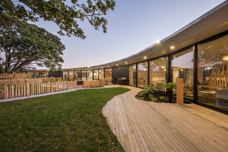 Chrysalis Childcare Centre uses existing trees as symbolic centerpieces