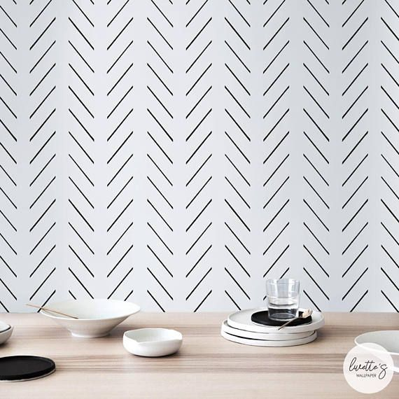 Modern Delicate Herringbone Wallpaper In Black And White Etsy Herringbone Wallpaper Removable Wallpaper Scandinavian Design