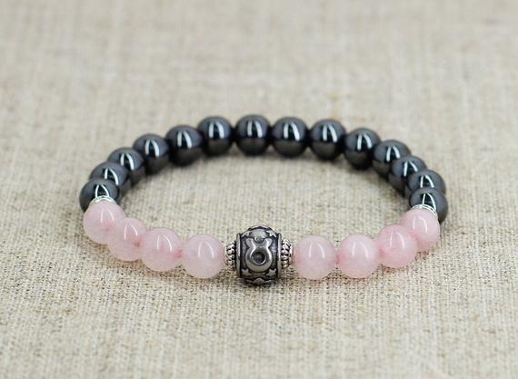 Raw Rose Quartz /& Hematite Bracelet  Hemp Cord Handmade Unique Jewelry  Gift For Her  Gift For Him  Boho Style  Crystal Macrame Netting