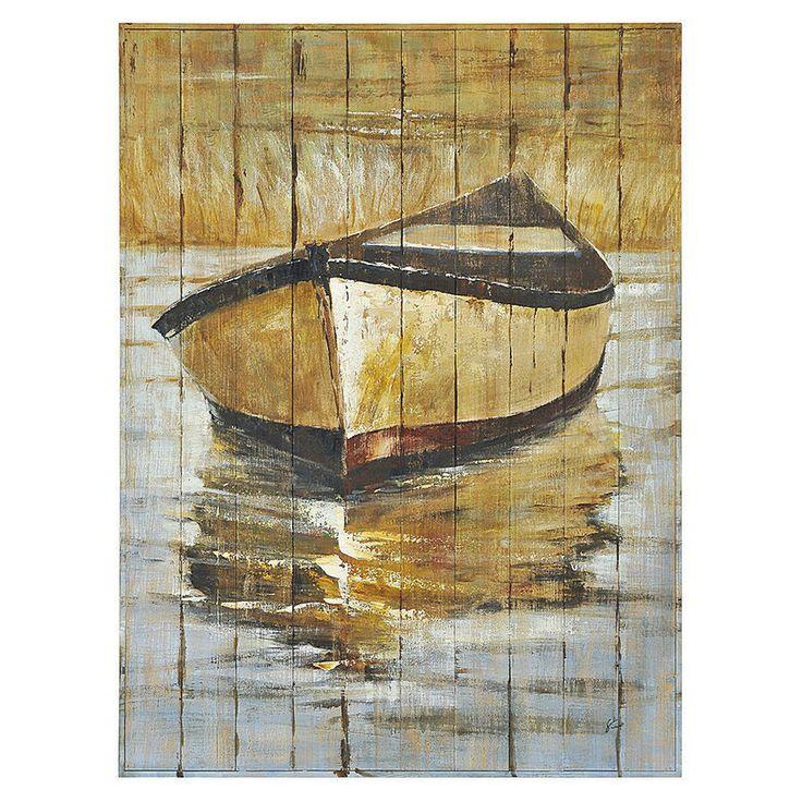 Peinture sur bois 36x48po chaloupe tanguay peinture for Peinture bois deco