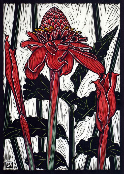 Torch Ginger-Rachel Newling 49 x 35 cm Edition of 50 Hand coloured linocut on handmade Japanese paper $850