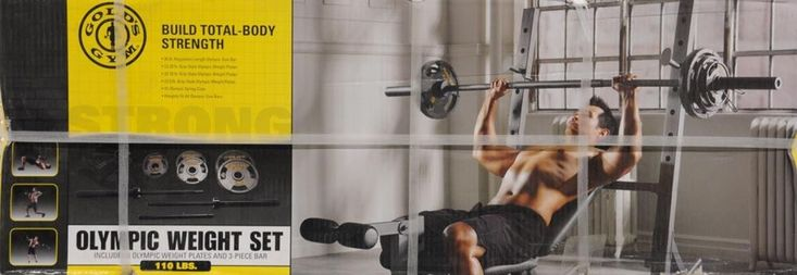 Golds Gym Olympic Weight Set, 110 Lbs Barbell Workout 110lb Plates Golds NEW #GoldsGym
