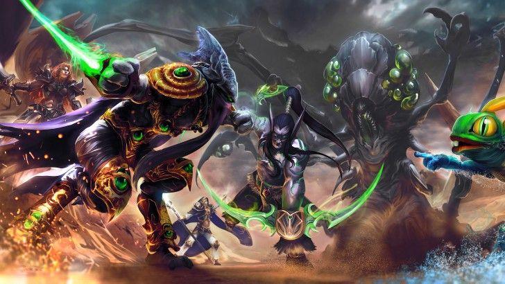 Download Heroes of the Storm Game Art Zeratul Illidan Abathur Murky Jaina Sonya by Nahnahnivek 3840x2160