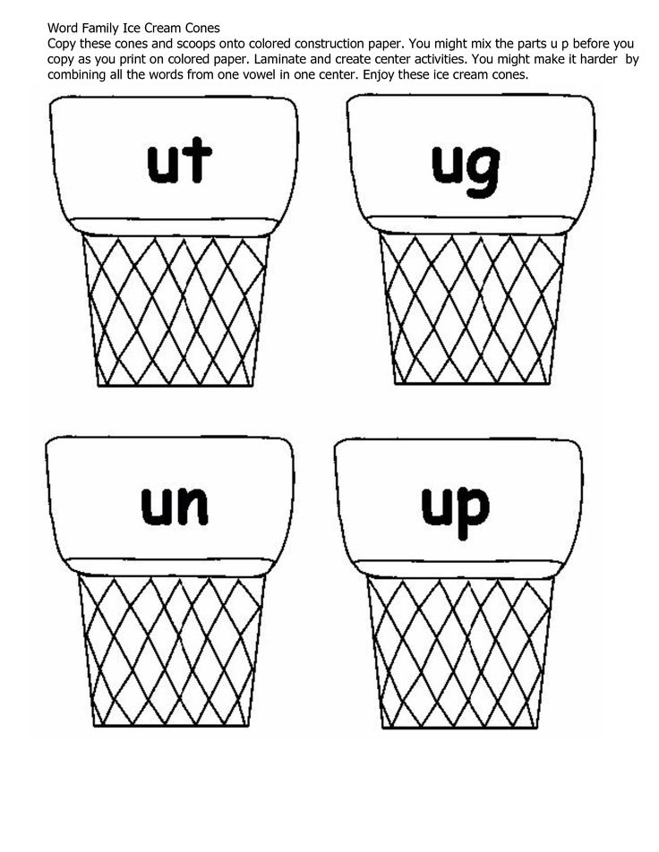 Word Family Ice Cream Cones Copy these cones and scoops onto