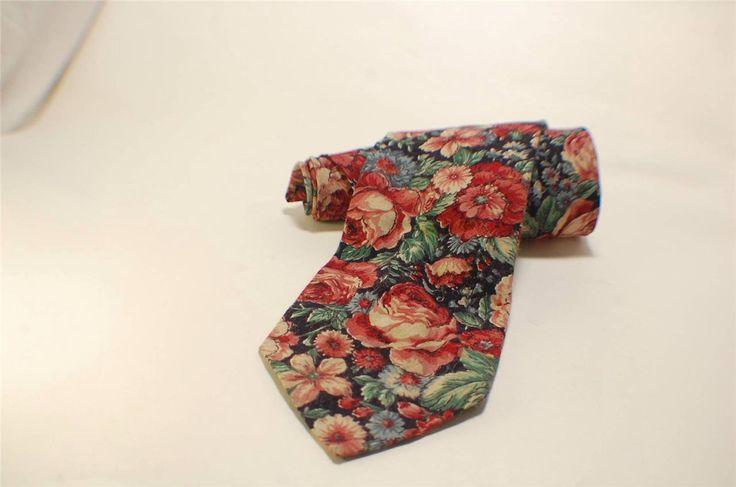 Vintage Austin Gray Tie Superb Floral Cotton Pattern | eBay