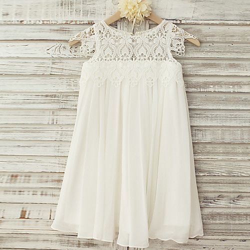 Sheath / Column Knee Length Flower Girl Dress - Chiffon Lace Short Sleeves Scoop Neck with Lace by LAN TING BRIDE® 2018 - $49.49