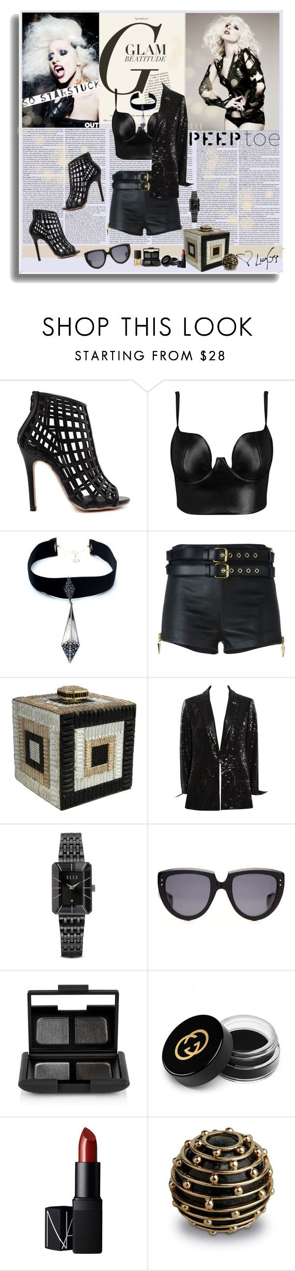 """Gaga"" by polybaby ❤ liked on Polyvore featuring Child Of Wild, Giuseppe Zanotti, Karl Lagerfeld, ELLE Time & Jewelry, Oliver Goldsmith, NARS Cosmetics, Gucci, L'Objet, peeptoe and polyvoreeditorial"