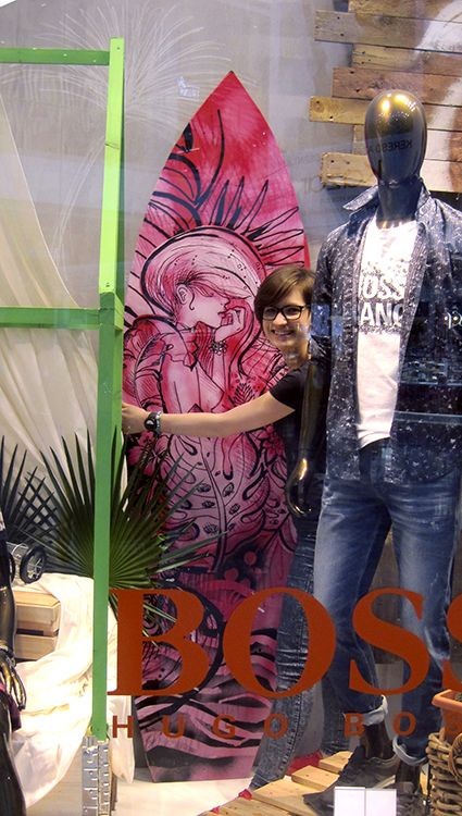 Surf board design by Anna Szollosi - used for window display for BOSS orange | visual merchandising