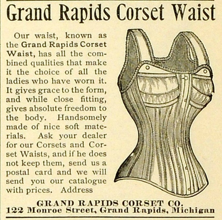 Ad for Grand Rapids Corset Co., 122 Monroe St - 1893