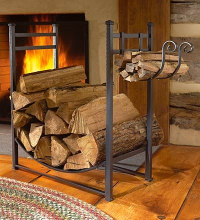LOVE THE FIRE WOOD STAND!! I'd keep it on the porch.