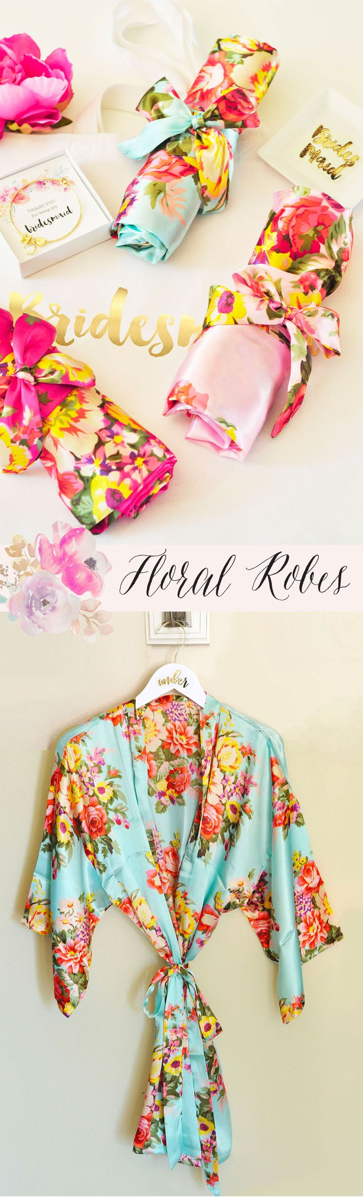 Floral Robes | Bridesmaid Robes | Bridesmaid Gifts | Gift Ideas for Women | Bachelorette Party Robes | Getting Ready Robes for Wedding Day