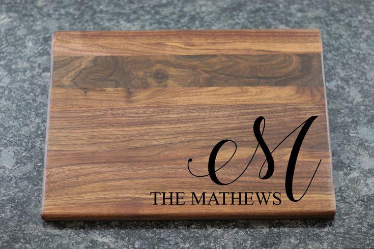 Last Name Personalized Cutting Board, Monogram Custom Cutting Board, Wedding Gift, Engraved Cutting Board, Unique Wood Butcher Block cb-42