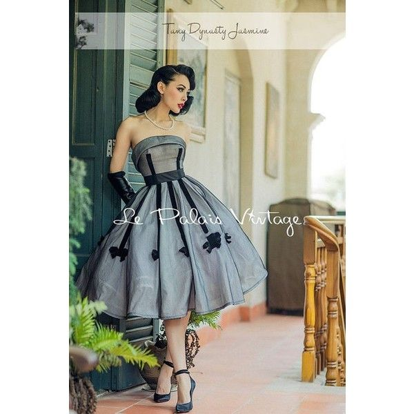 Retro Dress-black-Tuxedo Dress-Ball Gown-Vintage prom dress-Custom... ❤ liked on Polyvore featuring dresses, women's plus size dresses, vintage retro dresses, plus size going out dresses, plus size party dresses and plus size retro dresses