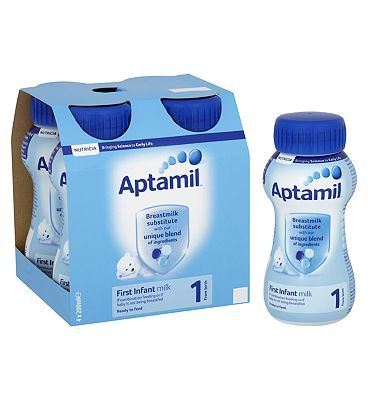 #Aptamil First Infant Milk 1 from Birth 4 x 200ml #12 Advantage card points. Our unique blend of ingredients are specifically tailored to nutritionally support your baby at every stage of development. FREE Delivery on orders over 45 GBP. (Barcode EAN=8716900569746)