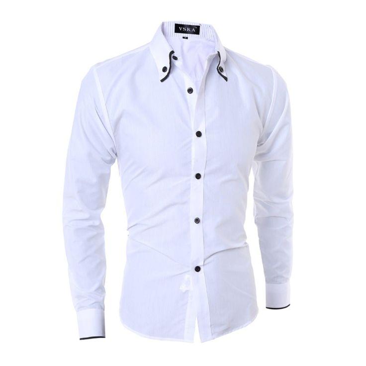 Fashion Edging Striped Lining Men's Slim Casual Long-Sleeved Shirt – White – 3370124516