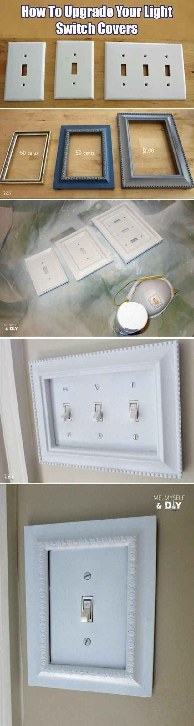 Inexpensive craft store frames fit perfectly around your light switch covers.