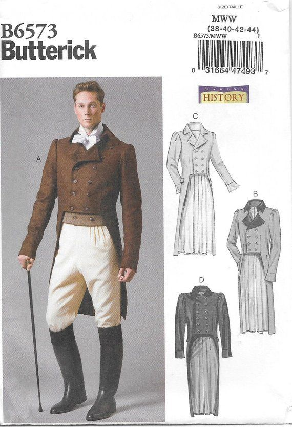 Butterick 6573 UNCUT Historical Mens Double Breasted Cutaway Coat ...