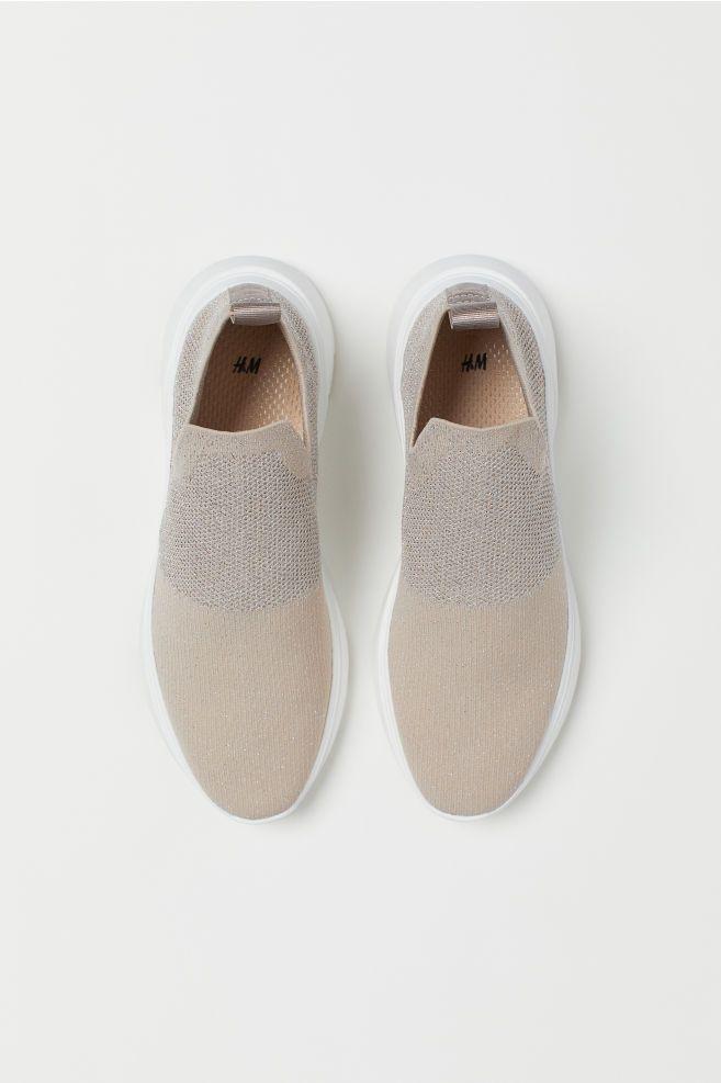 Fine-knit trainers - Light beige