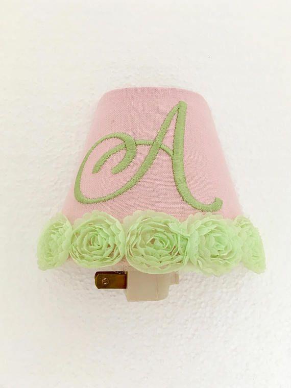 Green Rose Monogrammed Night Light -Linen Pink  Night Light Girl Room- Nursery Night Light
