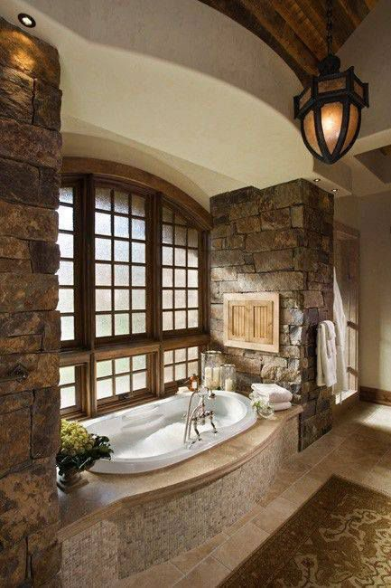 """Rustic Master Bathroom with VAN7242ATA- Designer Vanessa 72"""" x 42"""" Air Tub by Hydro Systems, Pendant Light, High ceiling"""