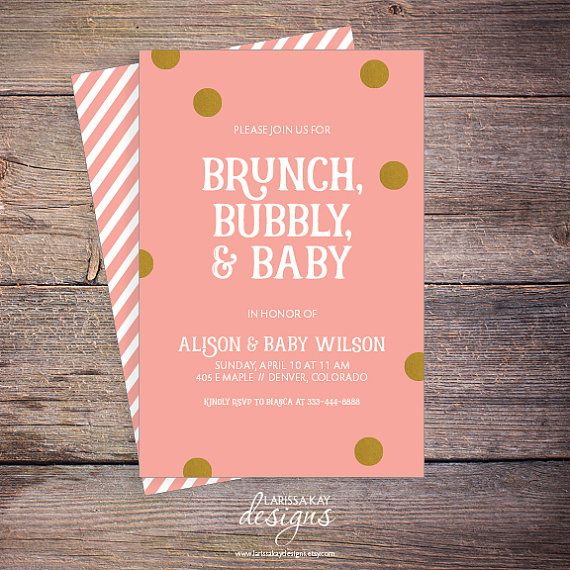 Brunch Bubbly U0026 Baby Shower Invitation Pink By LarissaKayDesigns