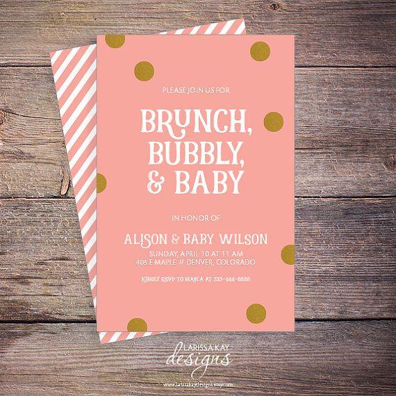 brunch bubbly u0026 baby shower invitation pink by